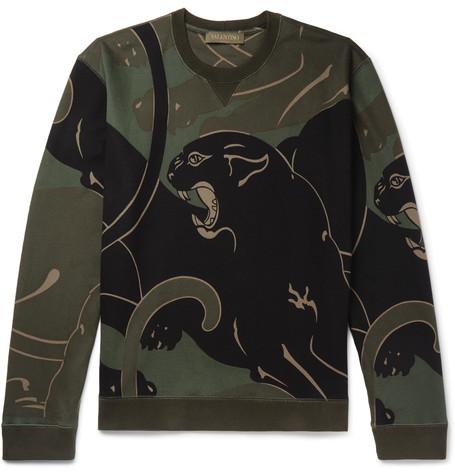 VALENTINO Printed Loopback Cotton-Blend Jersey Sweatshirt in Multi