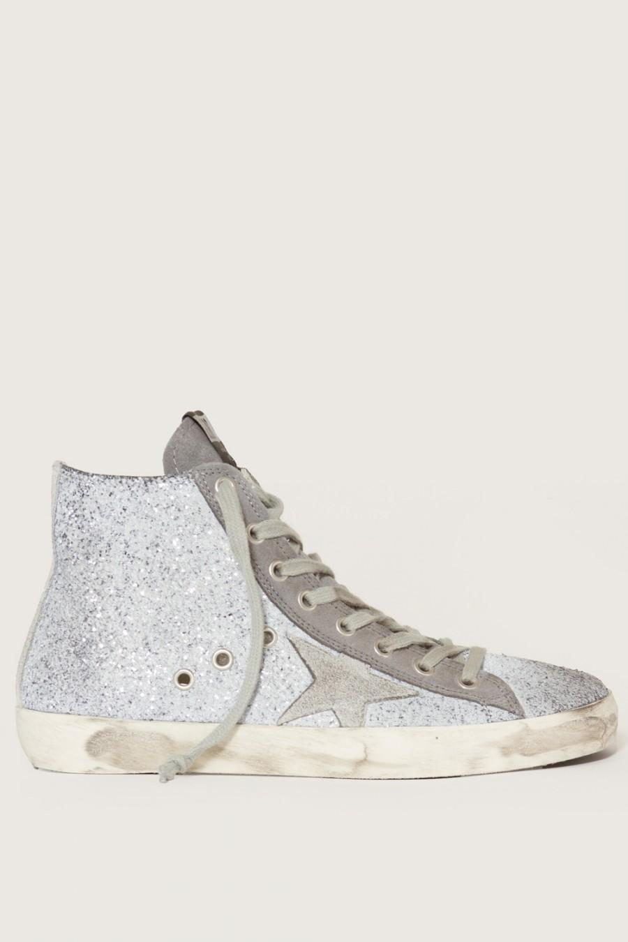 GOLDEN GOOSE Francy Distressed Glittered Suede High-Top Sneakers at MADISON LOS ANGELES