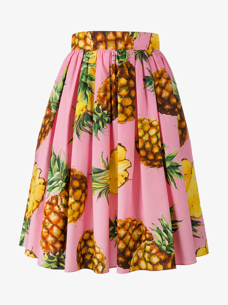 DOLCE & GABBANA Pineapple-Print Cotton Skirt at Browns Fashion