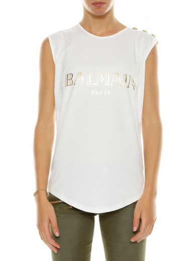 BALMAIN Logo Cotton Jersey Sleeveless Top, White at Italist.com