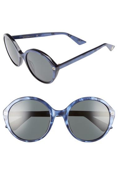 GUCCI 54Mm Round Sunglasses in Pearl Blue/ Grey