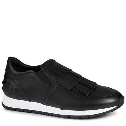 TOD'S 20Mm Fringed Leather Slip-On Sneakers, Black at THE LUXER