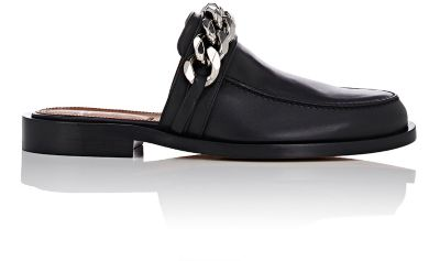 GIVENCHY Chain Croc-Embossed Leather Loafer Slides at BARNEYS