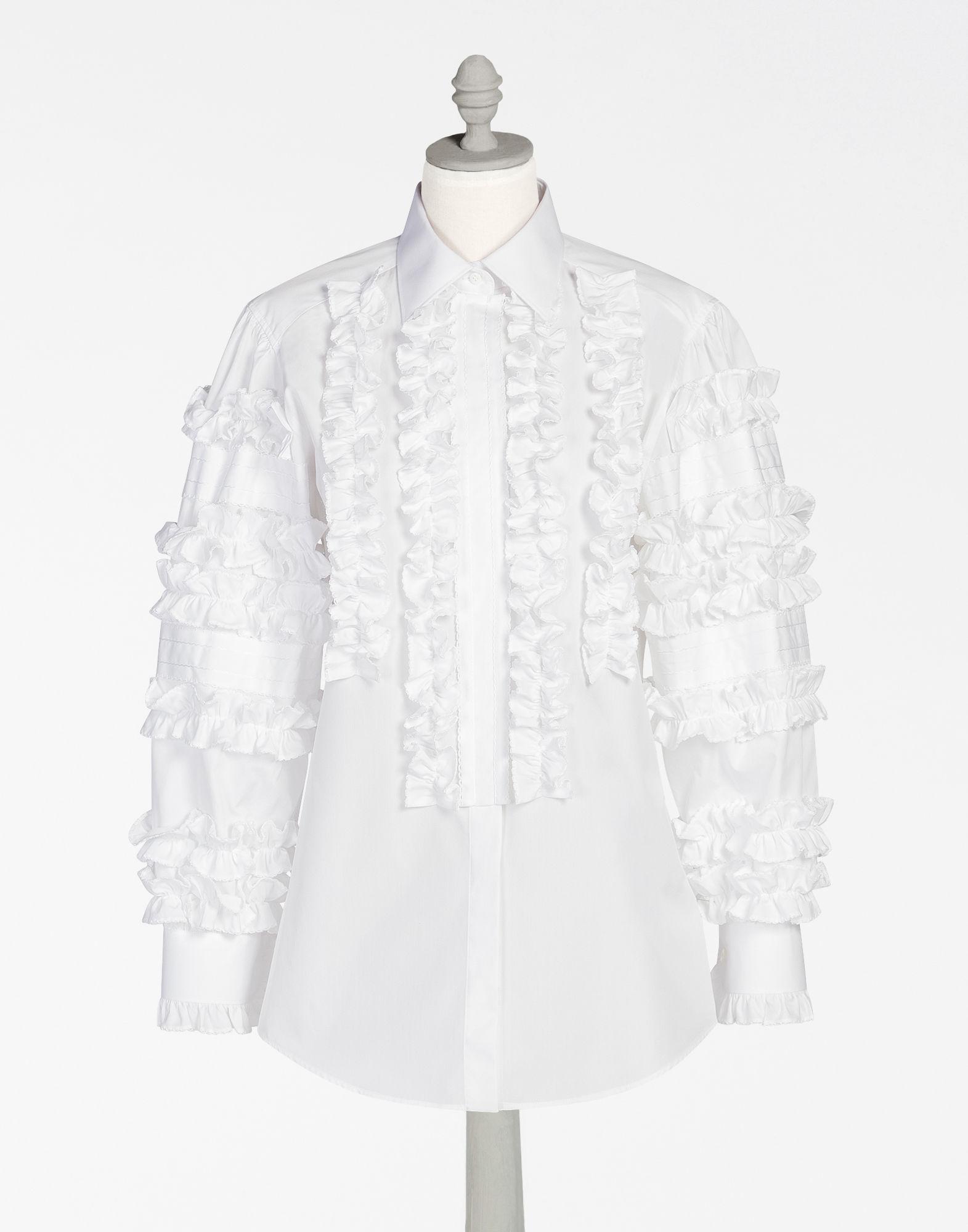 DOLCE & GABBANA Cotton Shirt With Ruche Details in White
