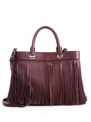 MILLY Essex Fringe Leather Satchel in Bordeaux