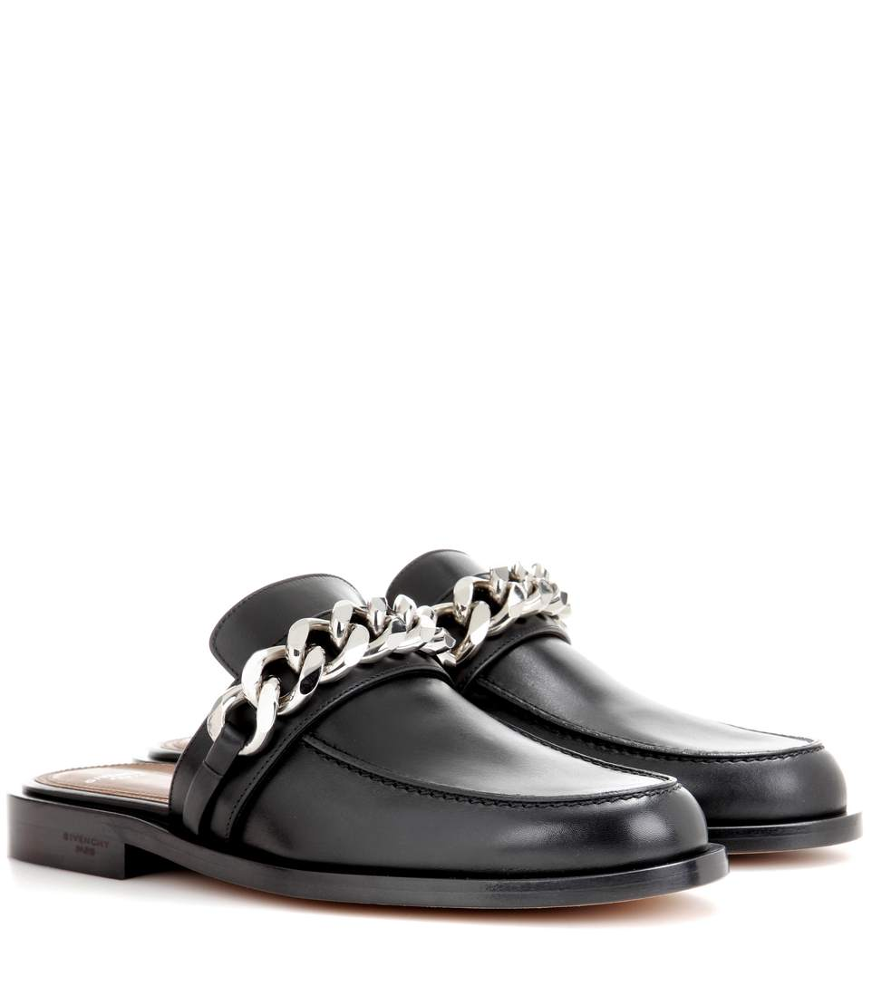 GIVENCHY Chain Croc-Embossed Leather Loafer Slides at mytheresa.com