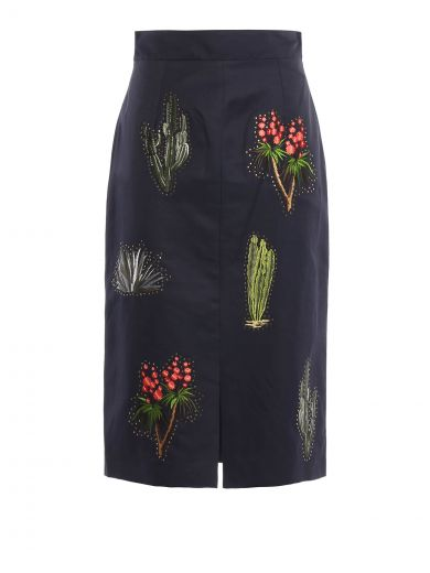 STELLA MCCARTNEY Cactus Embroidered Pencil Skirt in Ink
