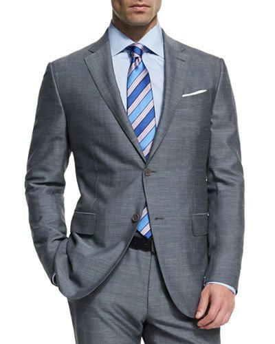 ERMENEGILDO ZEGNA Milano Easy Herringbone Two-Piece Suit, Gray