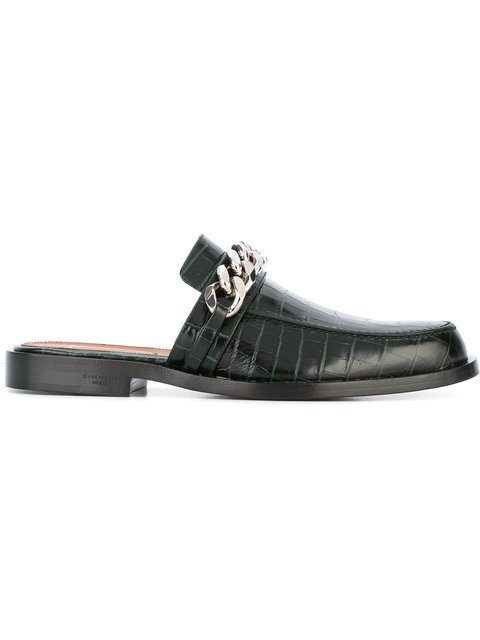 GIVENCHY Chain Croc-Embossed Leather Loafer Slides at Farfetch