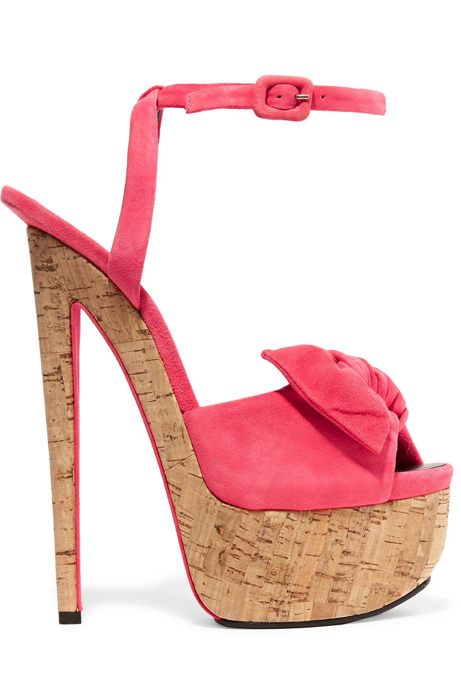 GIUSEPPE ZANOTTI Bow-Embellished Suede Sandals in Coral