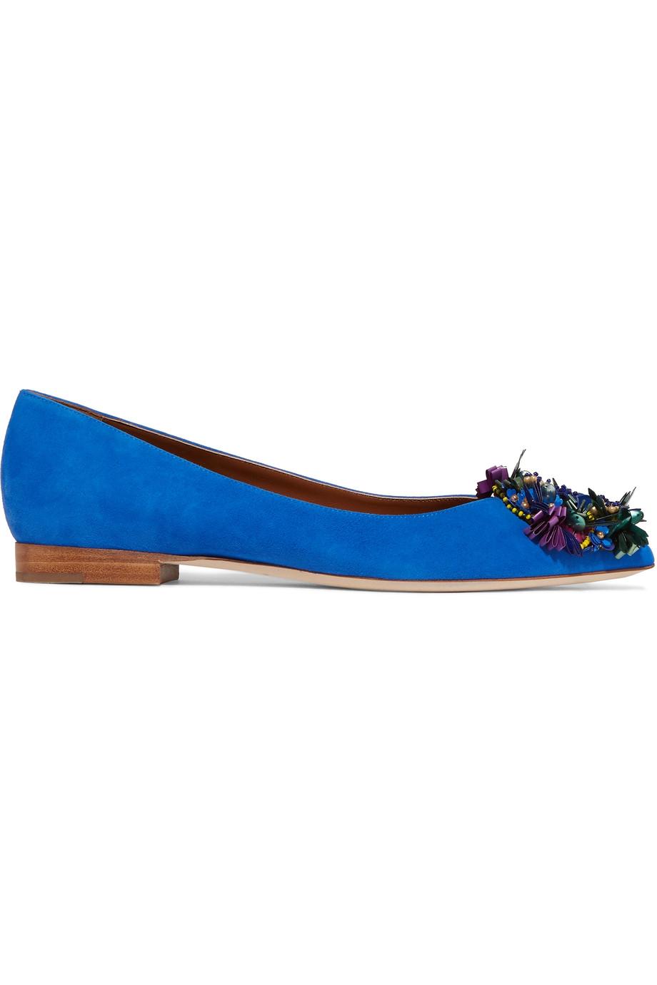 MALONE SOULIERS Billie Embellished Suede Point-Toe Ballet Flats