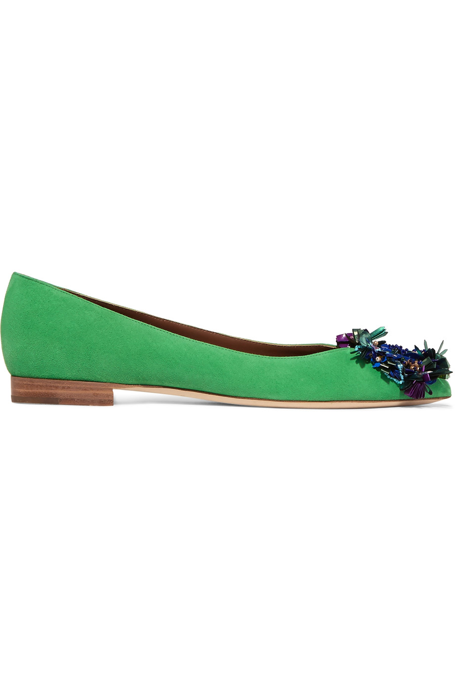 MALONE SOULIERS Billie Embellished Suede Point-Toe Ballet Flats