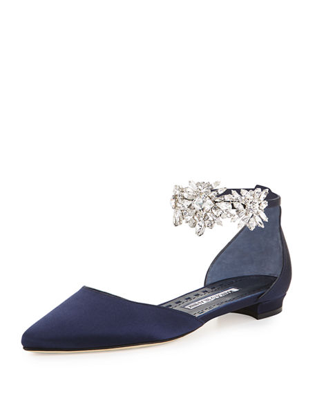 MANOLO BLAHNIK Sicaria Crystal-Embellished D'Orsay Flat