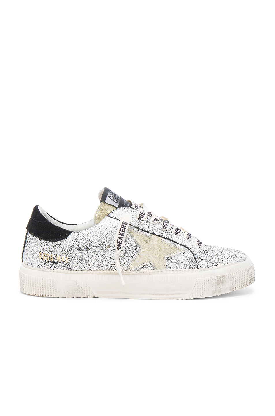 GOLDEN GOOSE May Star Low-Top Sneaker, White Crackled/Gold at FORWARD