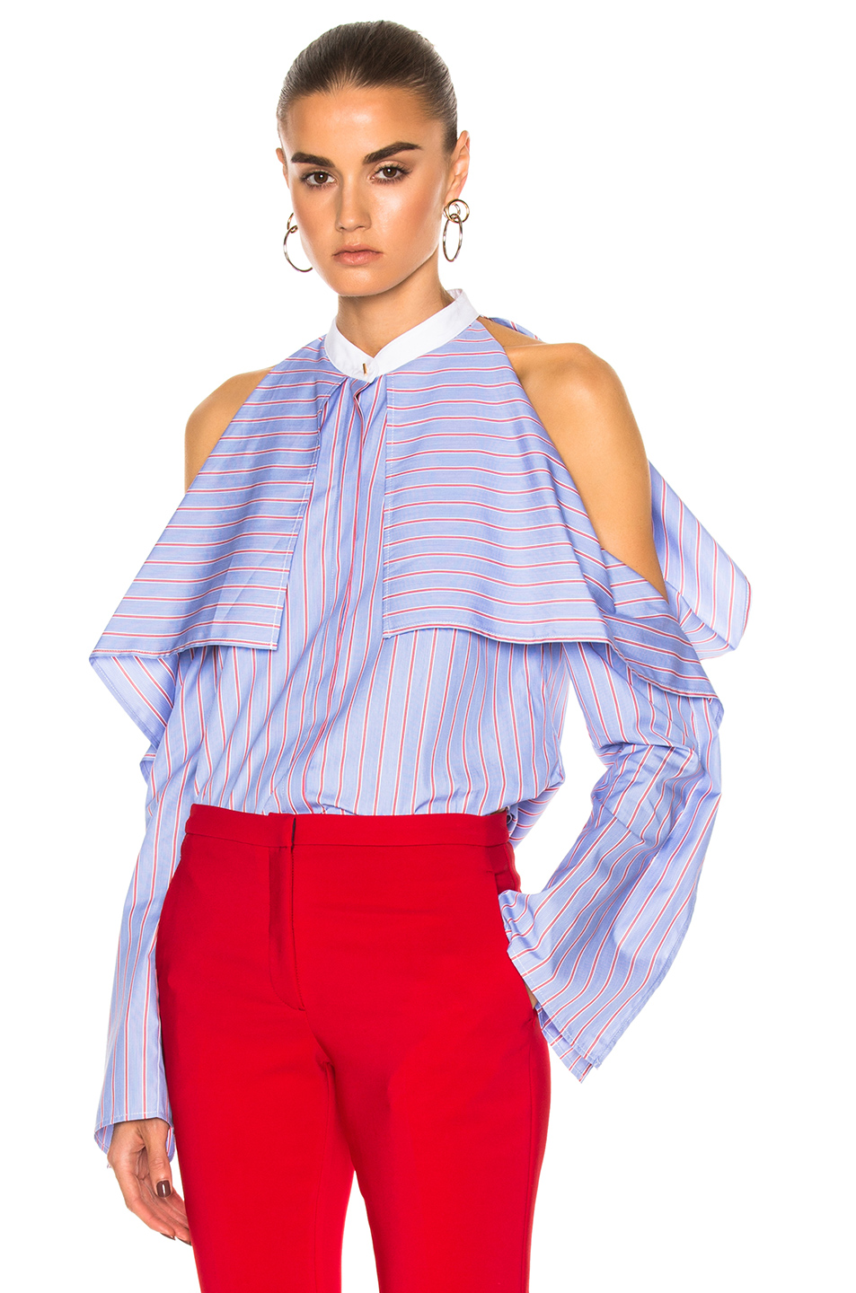 ROSETTA GETTY Cold-Shoulder Striped Cotton-Poplin Blouse at FORWARD
