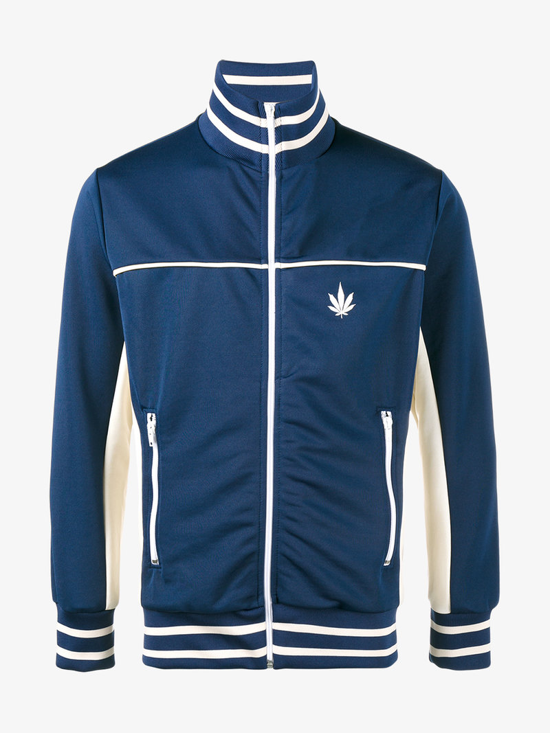 PALM ANGELS Cannabis Leaf Print Contrast Track Jacket at Browns Fashion