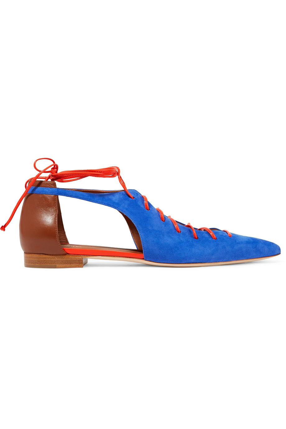 MALONE SOULIERS Montana Lace-Up Suede Point-Toe Flats at THE OUTNET.COM
