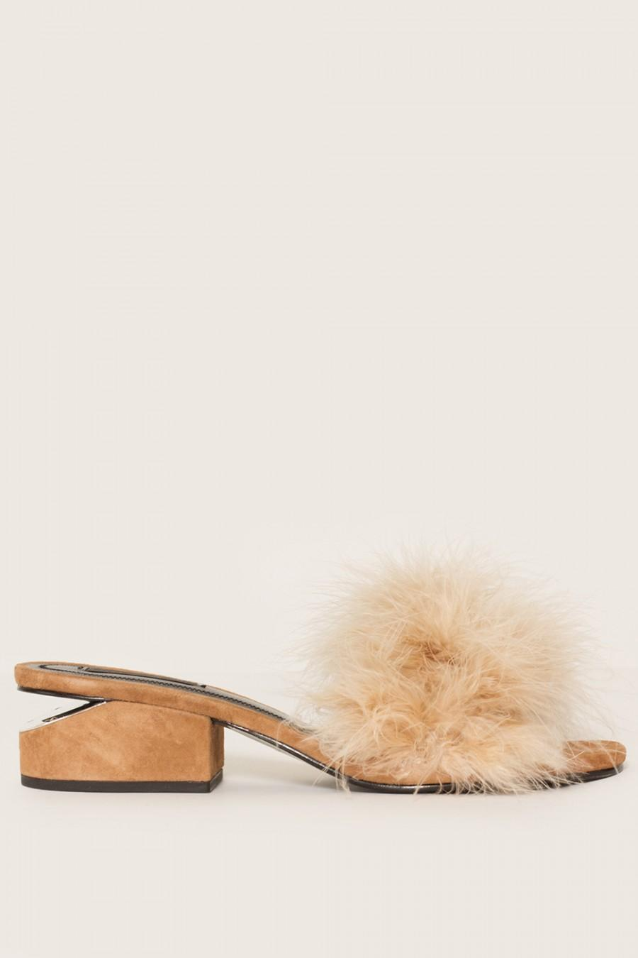 ALEXANDER WANG Lou Suede And Feather Slip-On Sandals at MADISON LOS ANGELES