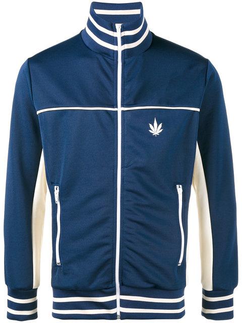 PALM ANGELS Cannabis Leaf Print Contrast Track Jacket at Farfetch
