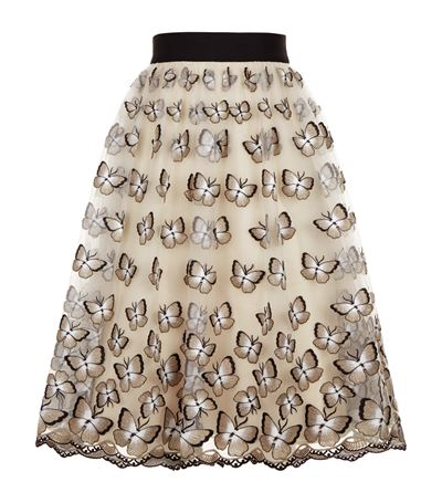 ALICE AND OLIVIA Butterfly Embroidered Skirt
