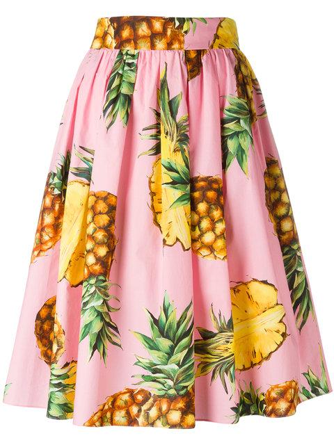 DOLCE & GABBANA Pineapple-Print Cotton Skirt at Farfetch