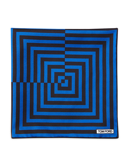 TOM FORD Linear Pattern Pocket Square, Brown/Blue in Blue/Black