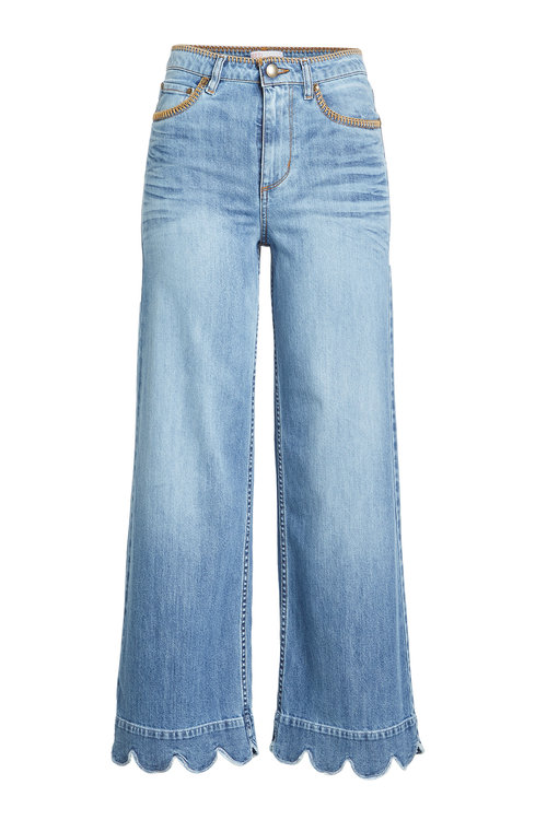 RED VALENTINO Stone-Washed Cropped Wide-Leg Jeans, Light Blue at STYLEBOP.com