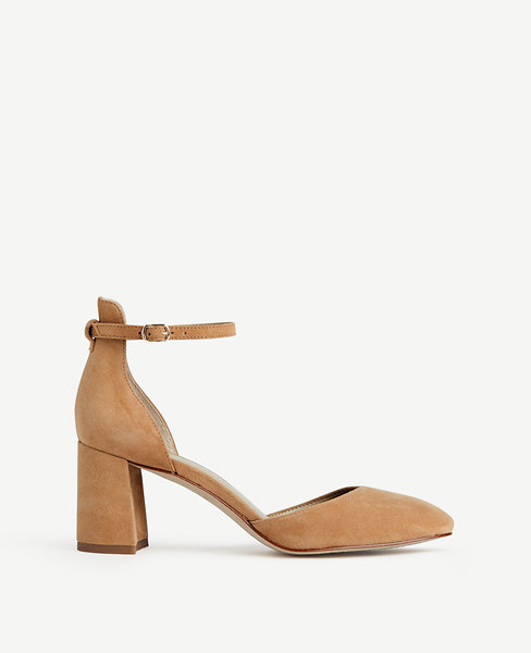 ANN TAYLOR Eliza Suede Round Toe Pumps at ANN TAYLOR