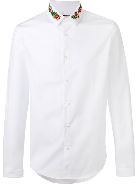 GUCCI Slim-Fit Floral-Embroidered Cotton-Poplin Shirt at Farfetch