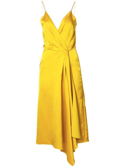 VICTORIA BECKHAM Draped Silk-Blend Satin Dress at Farfetch