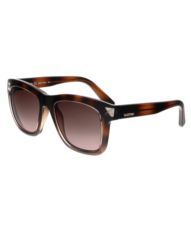 VALENTINO Glossy Square Tortoise-Print Acetate Sunglasses, Vintage Havana at Bluefly