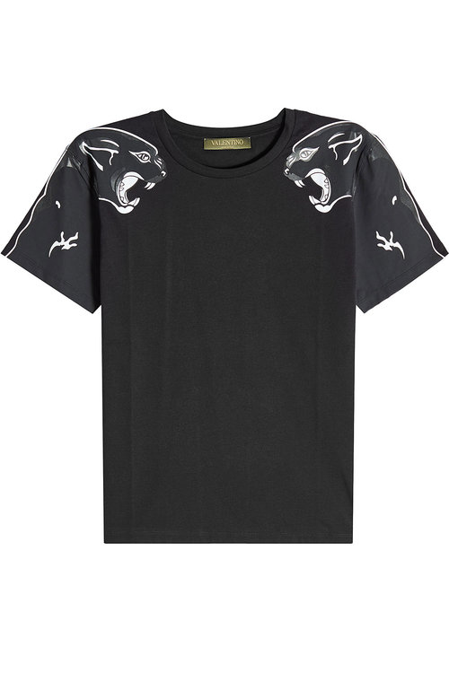 VALENTINO Panther Printed Cotton Jersey T-Shirt, Black at STYLEBOP.com