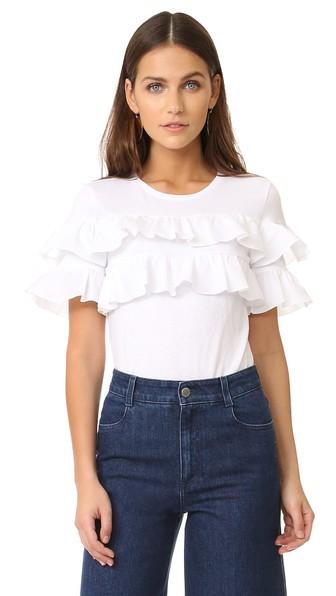 TORY BURCH Lenox Short-Sleeve Ruffled T-Shirt, White in Navy