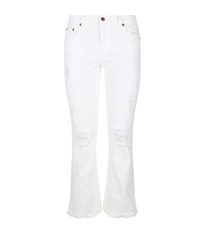 ROBERTO CAVALLI Stretch Ripped Cropped Jeans in White