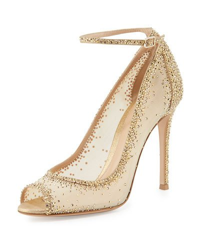 GIANVITO ROSSI Gemma Crystal Peep-Toe Ankle-Strap Pump, Gold