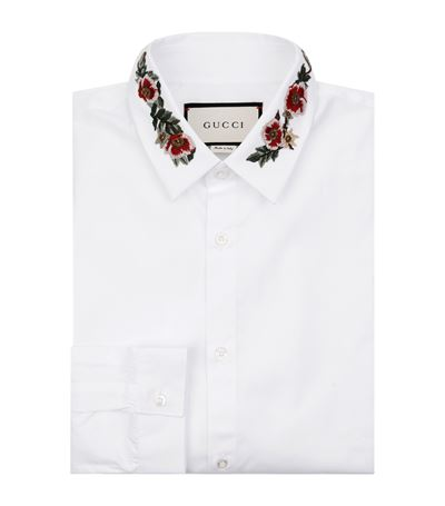 GUCCI Slim-Fit Floral-Embroidered Cotton-Poplin Shirt at Harrods