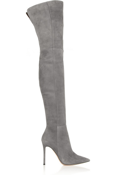 GIANVITO ROSSI Suede Over-The-Knee Boots in Gray | ModeSens