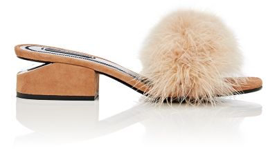 ALEXANDER WANG Lou Suede And Feather Slip-On Sandals at BARNEYS