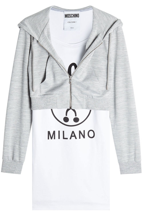 MOSCHINO Hooded Printed Stretch-Cotton And Jersey Mini Dress in Grey-White