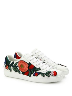 GUCCI New Ace Floral-Embroidered Low-Top Sneaker, White/Multi, Multi Colors at Saks Fifth Avenue