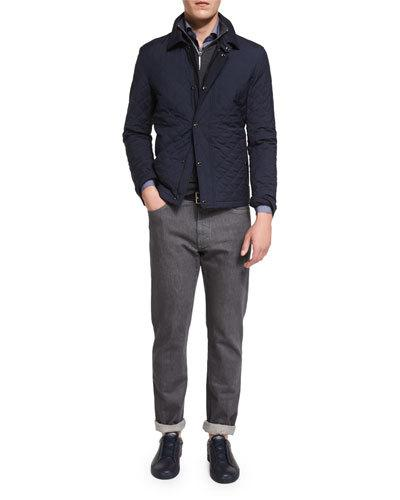 ERMENEGILDO ZEGNA Quilted Wool-Blend Field Jacket, Navy at Neiman Marcus