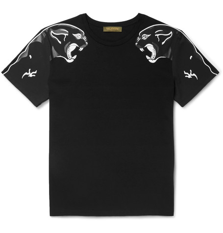 VALENTINO Panther Printed Cotton Jersey T-Shirt, Black at MR PORTER