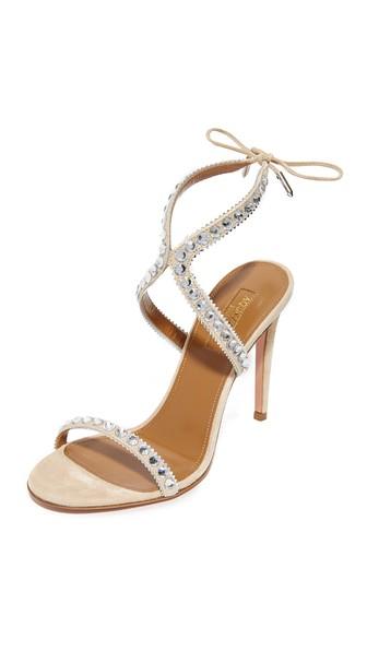 AQUAZZURA Sweet Lover Crystal Suede High Heel Sandals at Shopbop