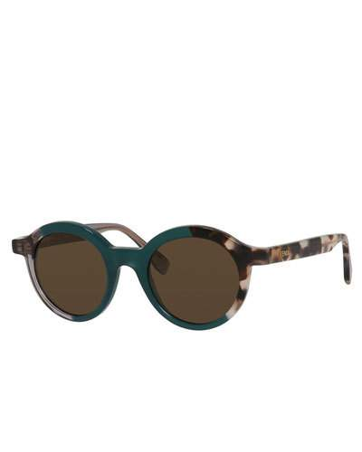 FENDI Two-Tone Round Sunglasses, Green/Gray