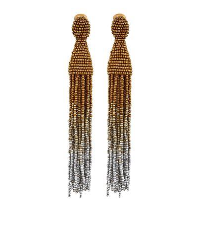 OSCAR DE LA RENTA Gold Ombré Beaded Long Tassel Earrings at Harrods