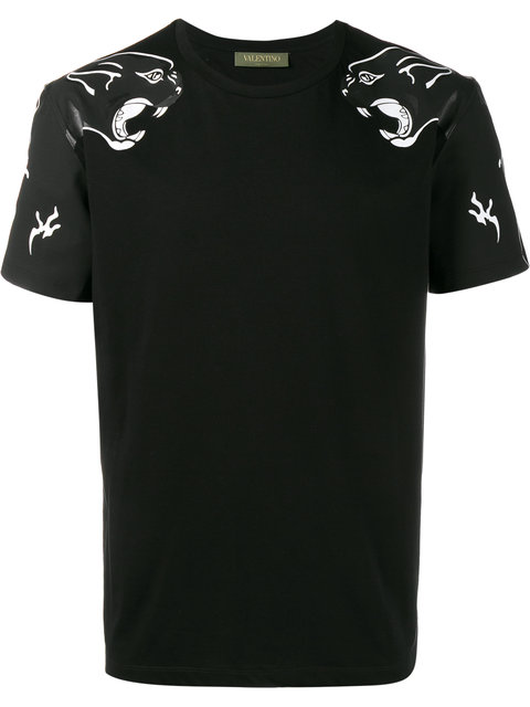 VALENTINO Panther Printed Cotton Jersey T-Shirt, Black at Farfetch