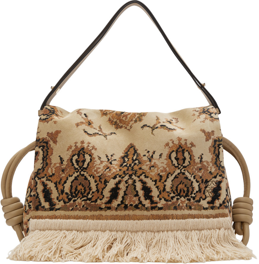 loewe flamenco flap tapestry suede crossbody bag in goldmulti