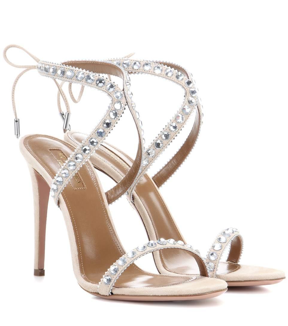 AQUAZZURA Sweet Lover Crystal Suede High Heel Sandals at mytheresa.com