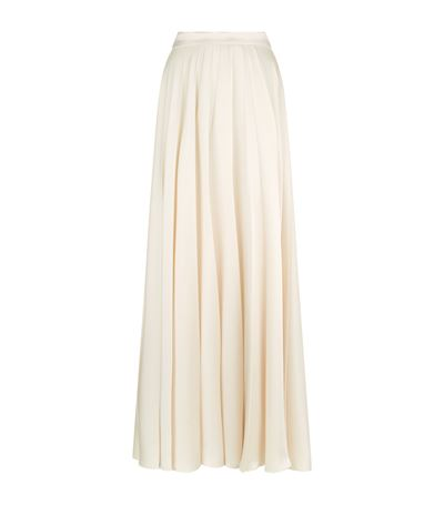 LANVIN Pleated Fluid Cady Long Skirt, Ivory at Harrods
