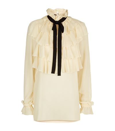 GUCCI Ruffled Silk Georgette Shirt With Bow, Ivory at Harrods